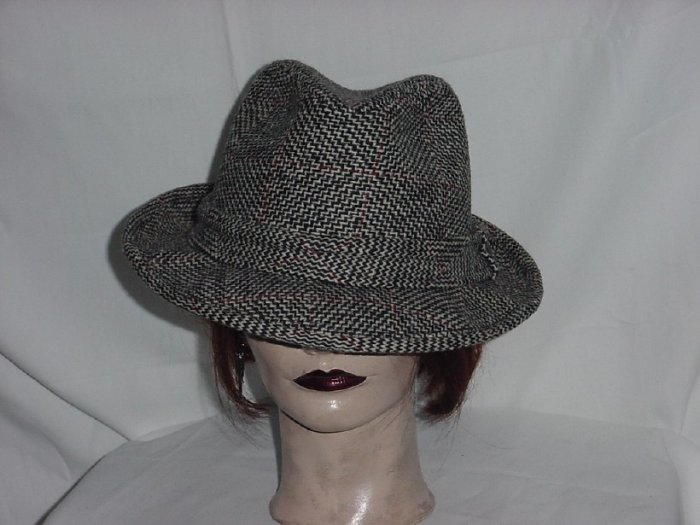 Famous Barr Mens fedora tweed men's vintage hat  #69