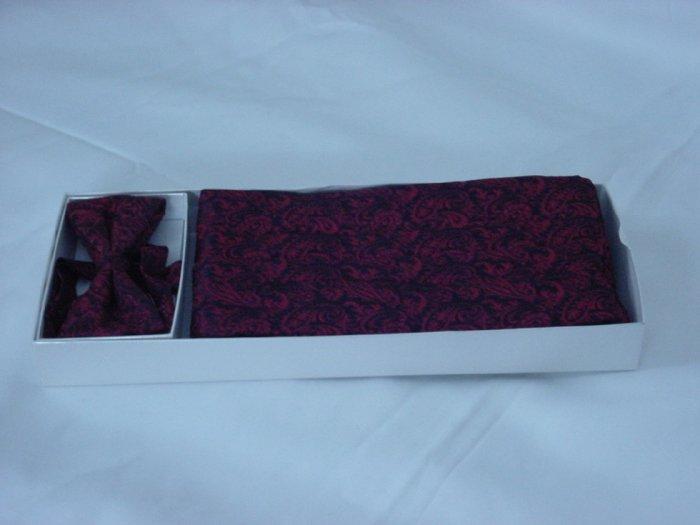 Bow tie and Cummerbund Set Neil Allyn Red Black brocade Formal Attire  #71