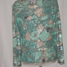 Oleg Cassini 80s Beaded Sequin Top Short Sleeves Turquoise Silver White Top  #71