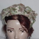 Vintage womens headband hat dinner church hat tan beige  petal band hat #73