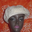 Womens vintage hat Cream White fur Tam beret ladies  No. 73
