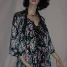 Vanity Fair Vintage Nightgown Robe set Black pinks greens set  No. 76