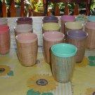 Cups Mid Century Plastic Burlap Raffia straw mat in Plastic 1950s 1960s No. 76