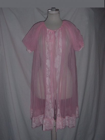 Gaymode Vintage Pink peignoir Small underlay nylon chiffon robe dressing gown No. 77