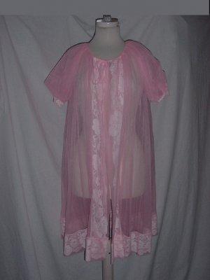 Gaymode Vintage Pink peignoir Small underlay nylon chiffon robe dressing gown No. 77