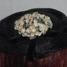 Black vintage ladies hat mid century womans hat  No. 80