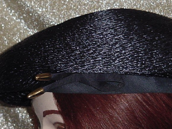 Navy hat Blue Beret half bow Straw type Vintage womans hat No. 82