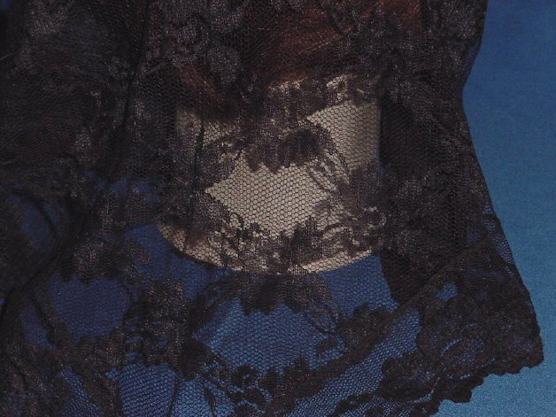 Mantilla Black Lace Triangular Scarf 1960s  No. 85