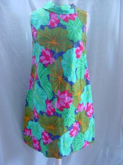 1960s vintage shift dress cowl collar Multi color pinks greens dress  No. 45