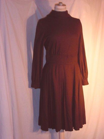 Brown wool high neck pleat skirt Vintage Dress Needs work