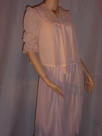 Artemis Vintage bedjacket Pink Nylon elbow length sleeves vintage bed jacket  No. 24