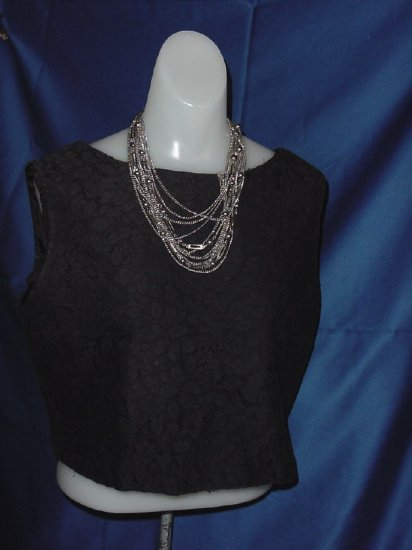 Vintage Carol Brent shell top Black lace overlay Bust 38  No. 23