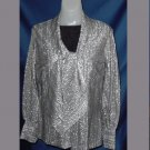 Vintage Blouse Judy Bond Silver fabric Bust 38 Long sleeves Tie front Buttons  No. 23