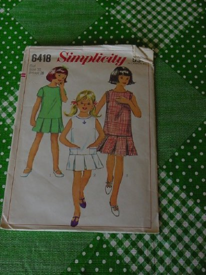 Simplicity 6418 Size 10 Bust 28 girls one-piece dress No.5