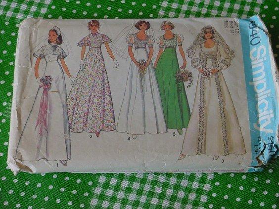 Simplicity 6940  Size 12 Bust 34 Misses Bridal Bridesmaid Prom Dress 1975  No. 5
