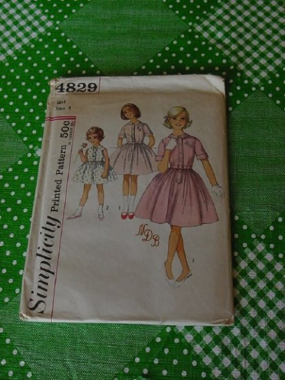 Simplicity Pattern 4829 Child's and Girls' Size 8 26 Chest one piece dress  No. 5