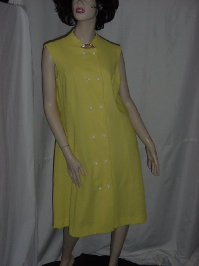 Yellow double breast vintage dress white buttons Stand up Collar  No. 22