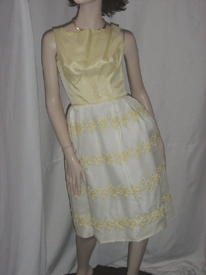 Prom Dress Yellow White Vintage Prom Gown Special Occasion Bust 30 1950s 1960s No. 5