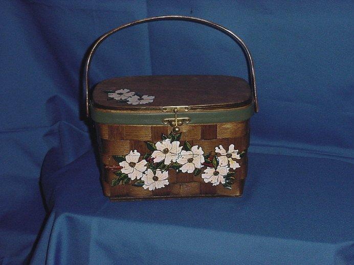 Caro Nan Vintage Original Basket Purse  Handpainted Dogwood No. 5