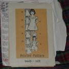 Printed Pattern Size 6 Girls 9449 Girls' Dress  No. 30
