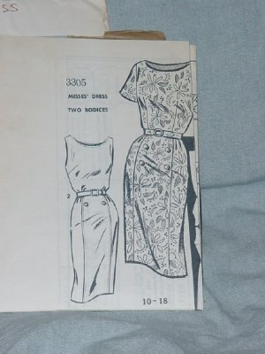 Audrey Lane Patterns Misses Dress 3305 Two bodices Bust 34  No. 30