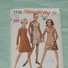 Simplicity 1968 Pattern 7758 Miss Size 14 bust 36  No, 30