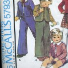 McCall's pattern 5793 Toddlers Children's jacket vest skirt shirt pants printed 1977  No. 86