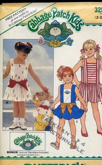Butterick Sewing Pattern Cabbage Patch Kid's Dress Transfer size 2-3-4 1985 Pattern No. 86