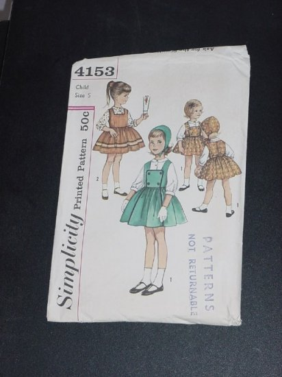 Child's Jumper Blouse Hat vintage sewing Pattern Simplicity Size 5  No. 88