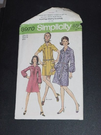 Misses Dress sewing Pattern Vintage Uncut Simplicity 8970 Miss Size 12 Bust 34 1970 pattern No. 88