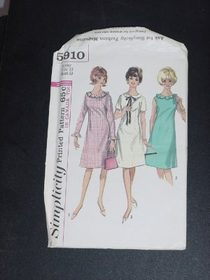 One Piece Dress Teens' Juniors Uncut Simplicity Sewing Pattern 5910 Size 13 Bust 33  No. 116