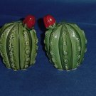 Salt Pepper Shaker Cacti Small green Desert Cactus red blossom Barrel Cactus No. 88