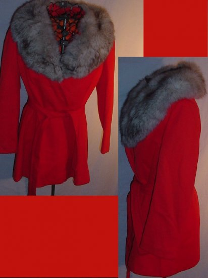 Very Chic 60s 70s Lipstick Orange Vintage Winter Coat Fur Collar  No. 91