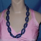 Necklace double strand oval open spiral shape black blue bead necklace  No. 91