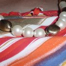 Napier vintage Single strand necklace gold tone beads faux pearls  No. 91