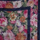 Large square scarf flowers trimmed in navy blue  No. 53