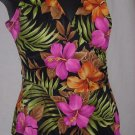 Swimsuit hibiscus fabric one piece Size 14 swim suit  No.93