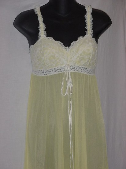 Olga Light Yellow Sleeping Pretty Empire Waist Night Gown Size 34 Olga nightgown  No. 94