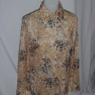 Women's 1970s Polyester shirt earth tones hippie 60s 70s Long sleeved top  No. 94