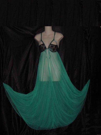 Vintage Night gown Black Aquamarine Empire waist Nightgown  No. 94