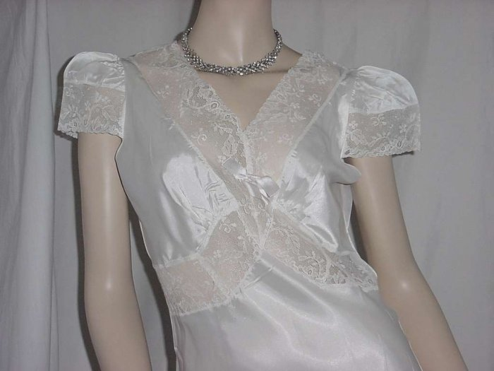 Nightgown Lisbeth Vintage slinky 1940s 1930s bias cut nightgown ecru lace cap sleeves  No. 105