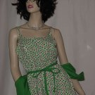 Lanz original vintage 1960s dress white with pink green clover jacket dress  No.  96
