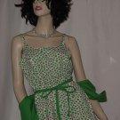 Lanz original vintage 1960s dress white with pink green clover jacket dress  No.  96