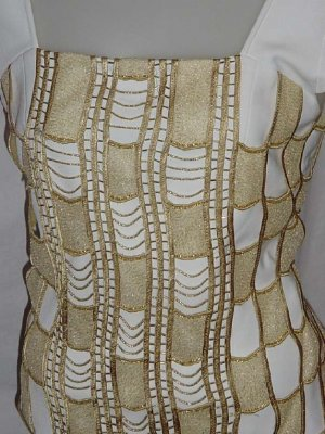 Gold white Shell Evening Blouse Fancy top Size 10 No. 97