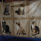 Cat Panel fabric heavier weight material six cats  No. 99
