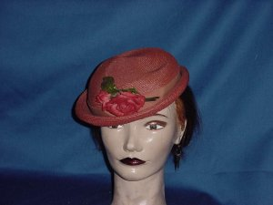 womens vintage hat red 1940s 1930s hat Straw summer ladies hat No. 98