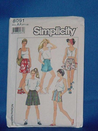 Vintage shorts Pattern Simplicity 8091 Uncut Size Petite - Large No. 99