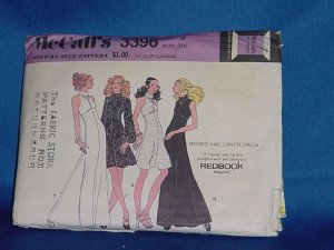 McCall's Pattern 3396 Misses junior dress size 10 Bust 32 1/2  1972 pattern  No. 99