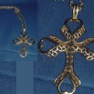 Large Necklace Ornate gold tone cross open work Medieval look No. 97