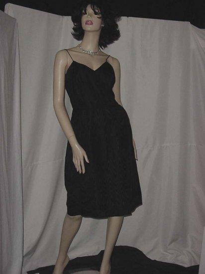 Vintage Black Moire sheath dress jacket velvet collar 102a